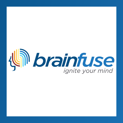 Brainfuse rainbow brain icon. Text: Brainfuse. Ignite your mind.