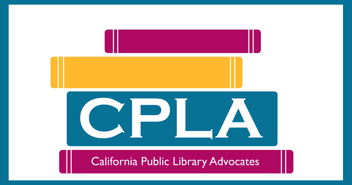 CPLA icon of stacked books that are yellow, pink, and blue. Text: CPLA, California Public Library Association