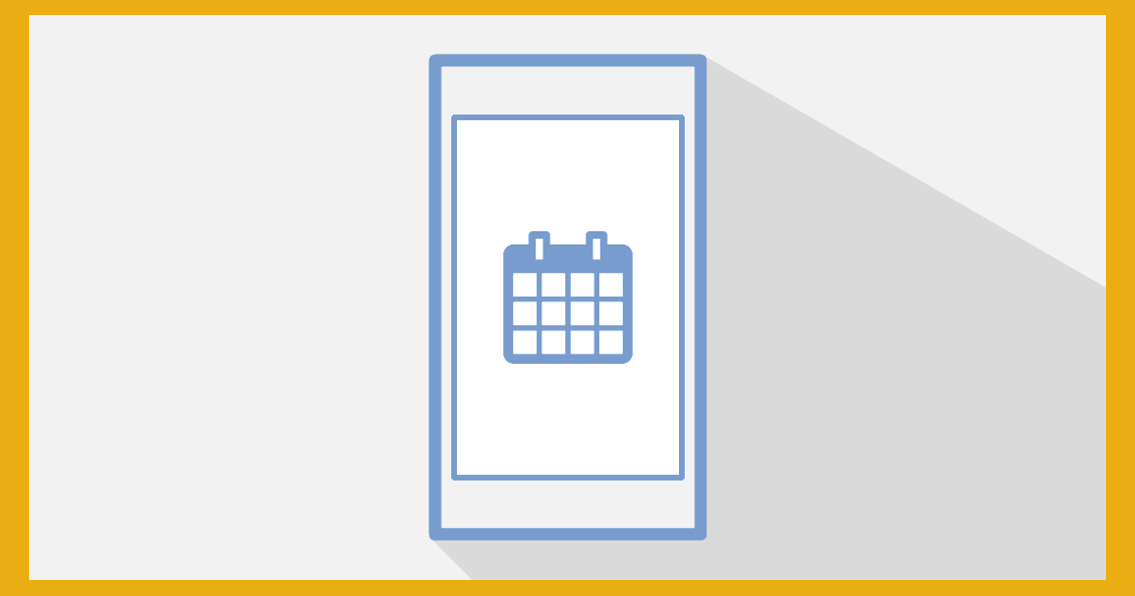 Illustration: mobile device with a calendar icon on the screen.
