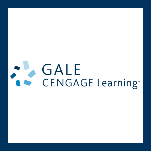 Gale icon with swirl of blues. Text: Gale Cengage learning