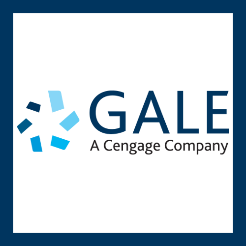 Gale icon with swirl of blues. Text: Gale, A Cengage Company