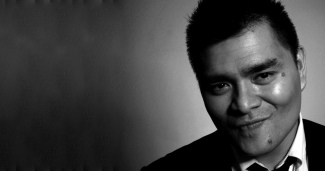 Black and white portrait of Jose Antonio Vargas